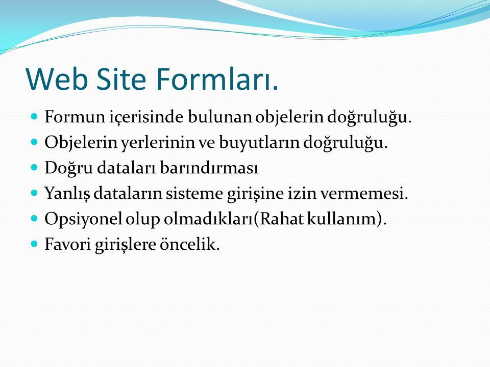 Web Site Formları. Formun içerisinde bulunan objelerin doğruluğu.