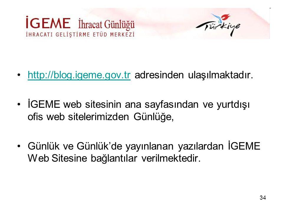 http://blog.igeme.gov.tr adresinden ulaşılmaktadır.