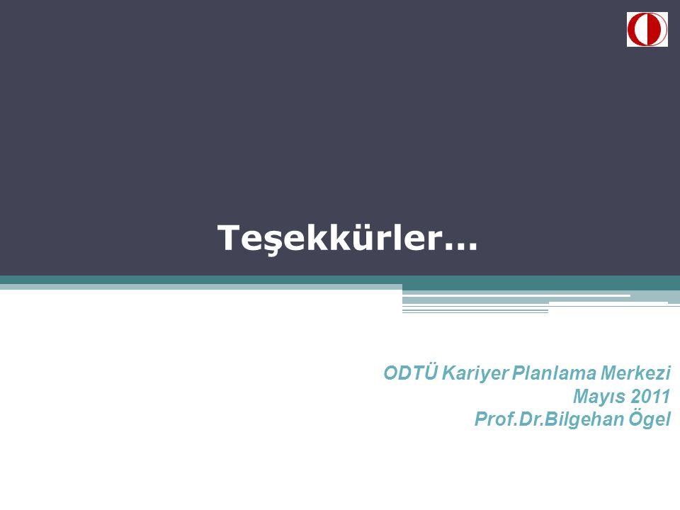 Teşekkürler... ODTÜ Kariyer Planlama Merkezi Mayıs 2011