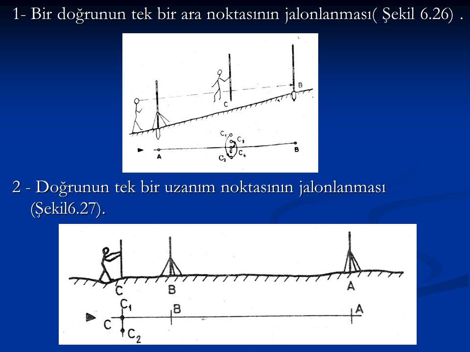1- Bir doğrunun tek bir ara noktasının jalonlanması( Şekil 6.26) .