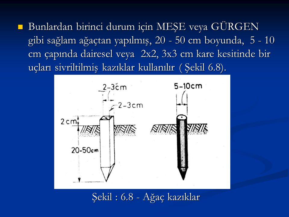 Bunlardan birinci durum için MEŞE veya GÜRGEN gibi sağlam ağaçtan yapılmış, 20 - 50 cm boyunda, 5 - 10 cm çapında dairesel veya 2x2, 3x3 cm kare kesitinde bir uçları sivriltilmiş kazıklar kullanılır ( Şekil 6.8).