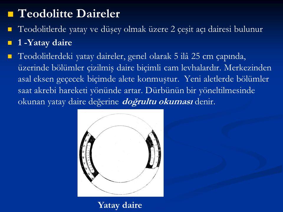 Teodolitte Daireler Teodolitlerde yatay ve düşey olmak üzere 2 çeşit açı dairesi bulunur. 1 -Yatay daire.