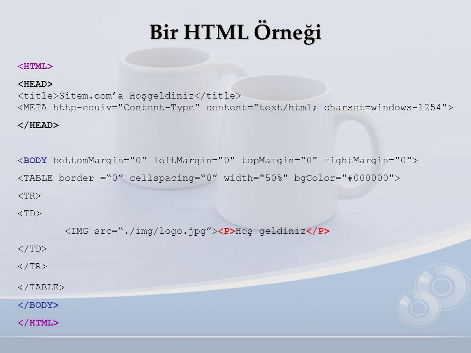 Bir HTML Örneği <HTML> <HEAD>