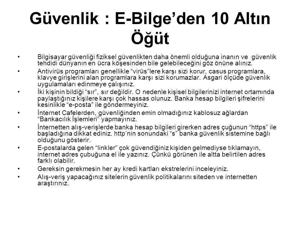 Güvenlik : E-Bilge'den 10 Altın Öğüt