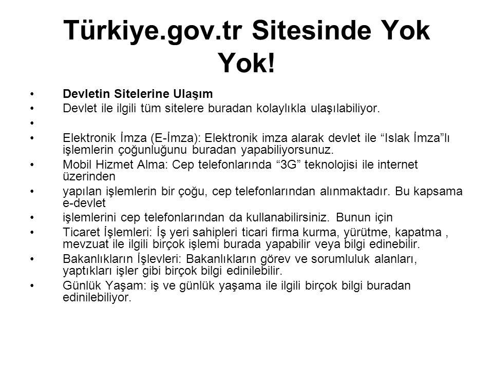 Türkiye.gov.tr Sitesinde Yok Yok!