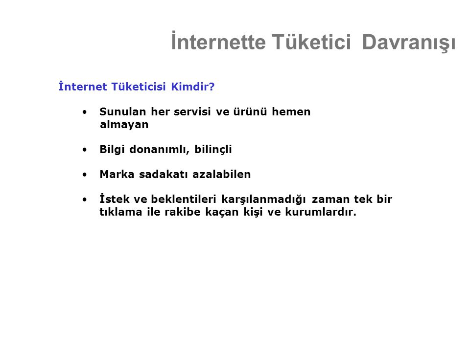 İnternette Tüketici Davranışı