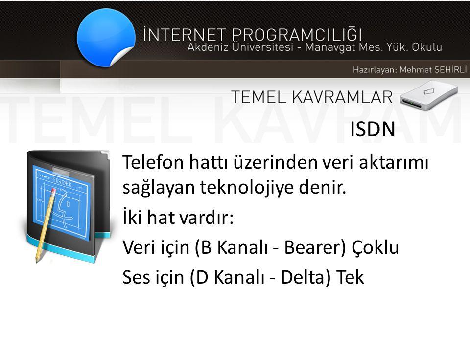 ISDN Telefon hattı üzerinden veri aktarımı sağlayan teknolojiye denir.