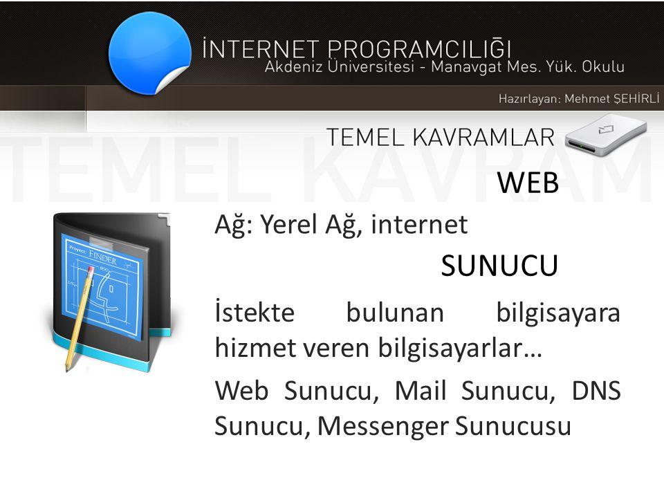 WEB SUNUCU Ağ: Yerel Ağ, internet