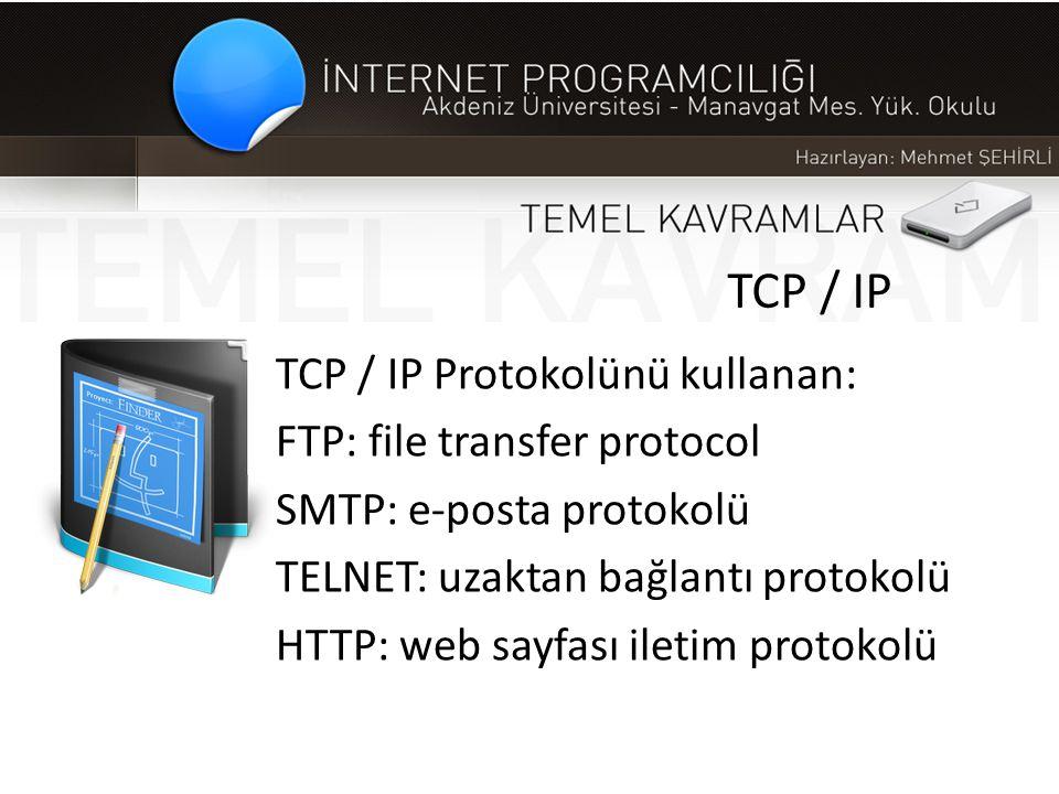 TCP / IP TCP / IP Protokolünü kullanan: FTP: file transfer protocol