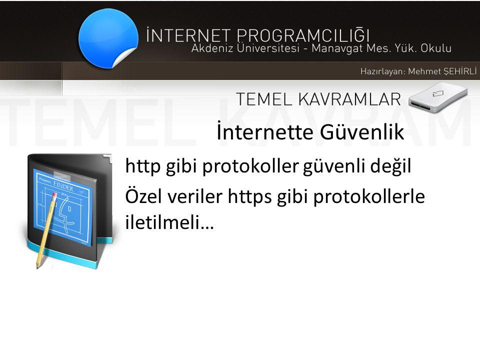 İnternette Güvenlik http gibi protokoller güvenli değil