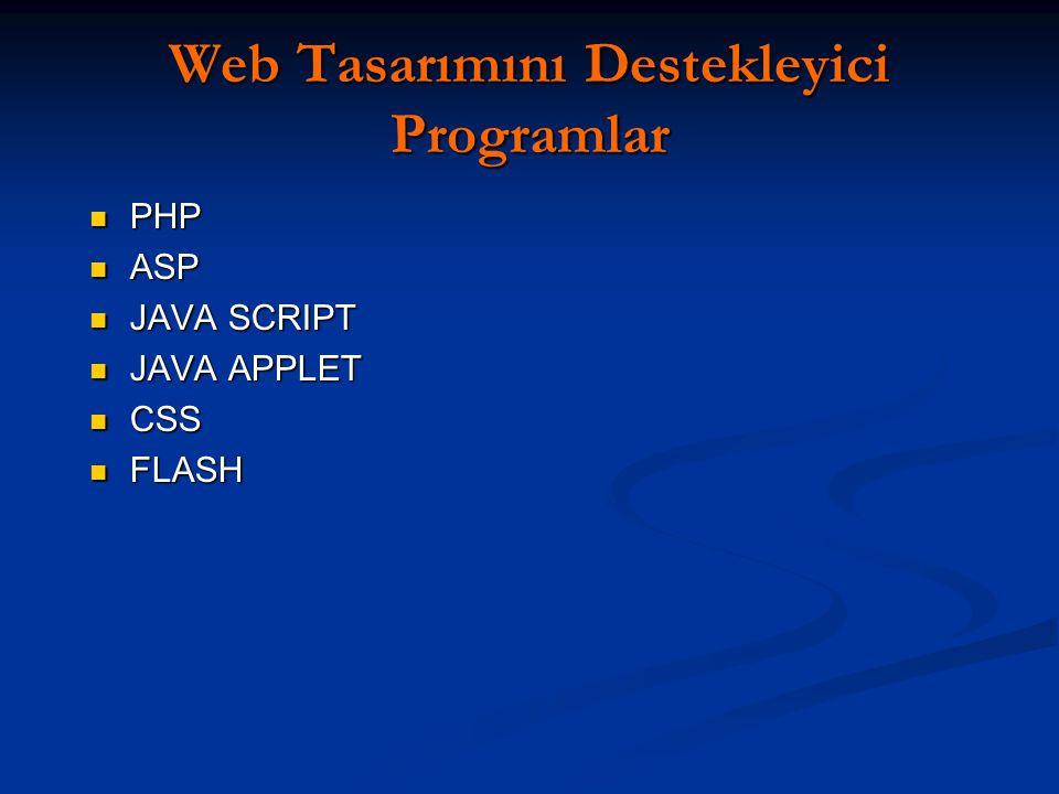 Web Tasarımını Destekleyici Programlar