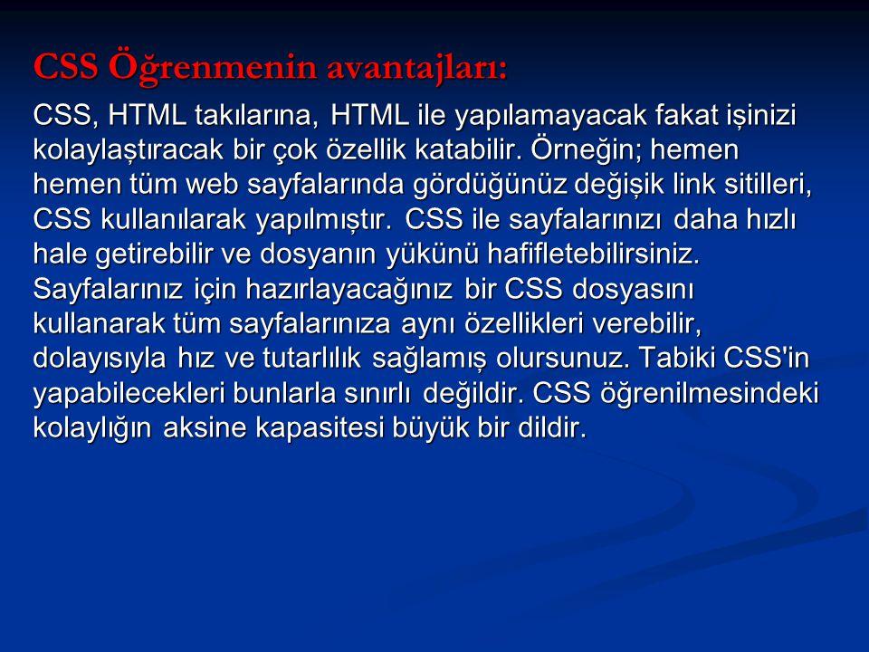 CSS Öğrenmenin avantajları: