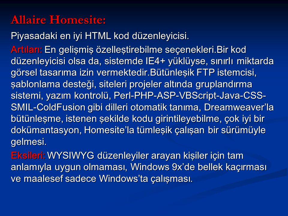 Allaire Homesite: Piyasadaki en iyi HTML kod düzenleyicisi.