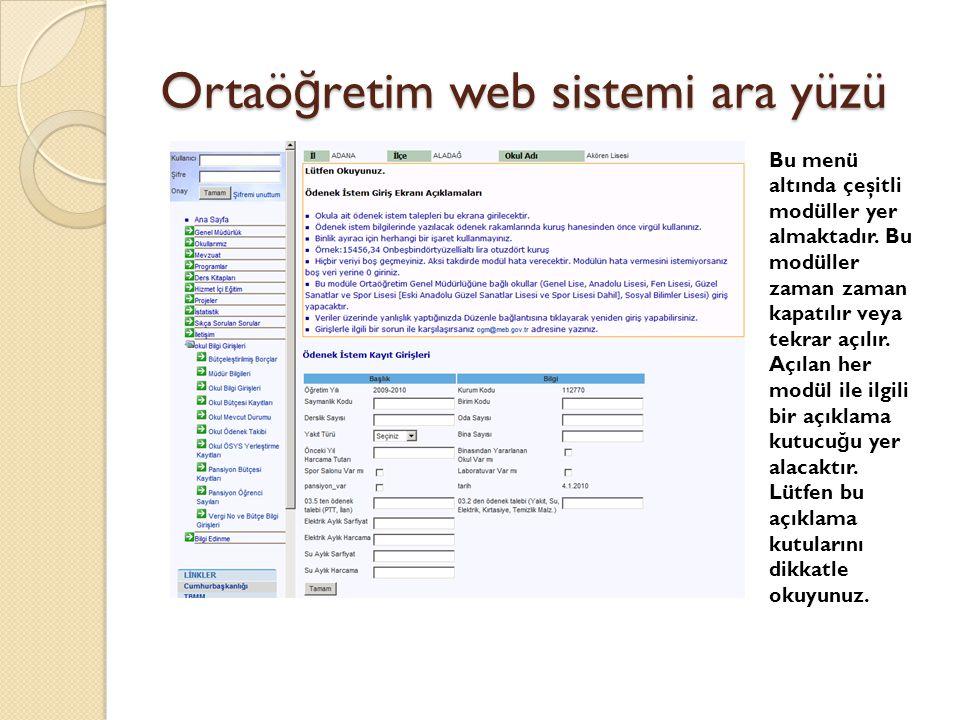 Ortaöğretim web sistemi ara yüzü