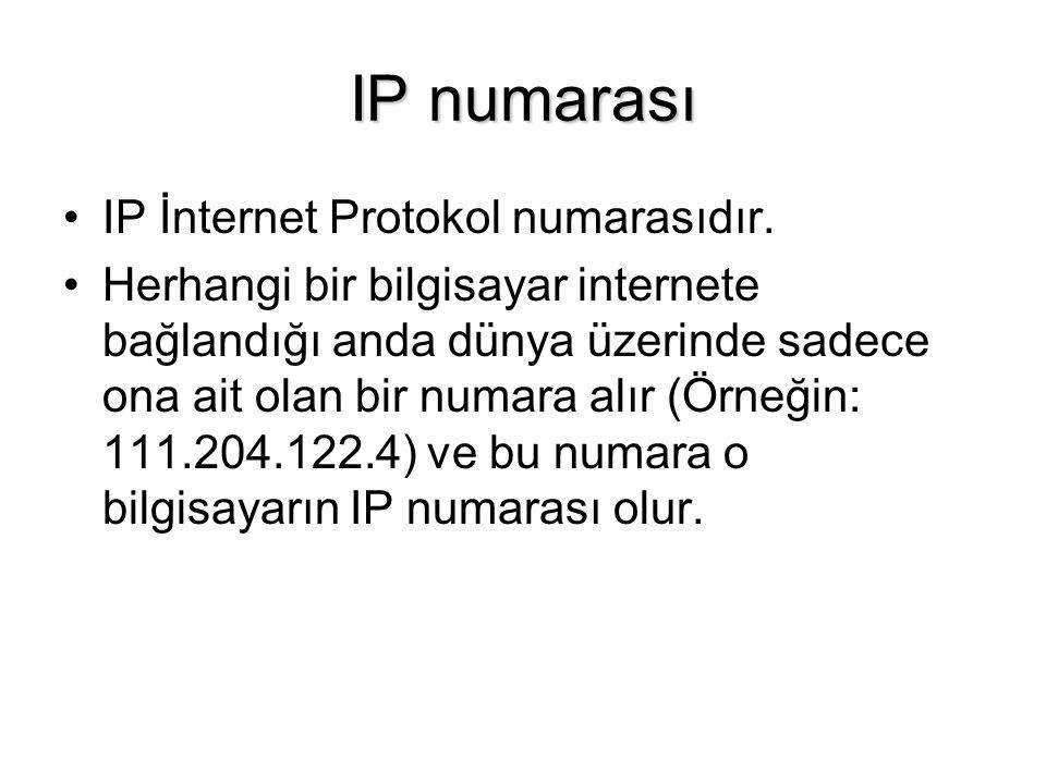 IP numarası IP İnternet Protokol numarasıdır.