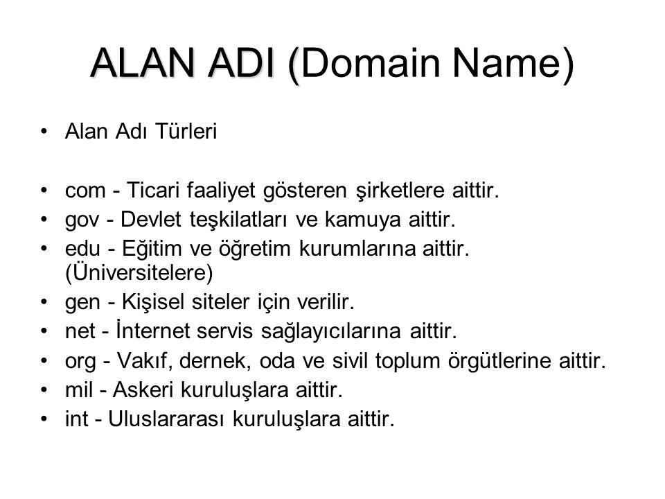 ALAN ADI (Domain Name) Alan Adı Türleri