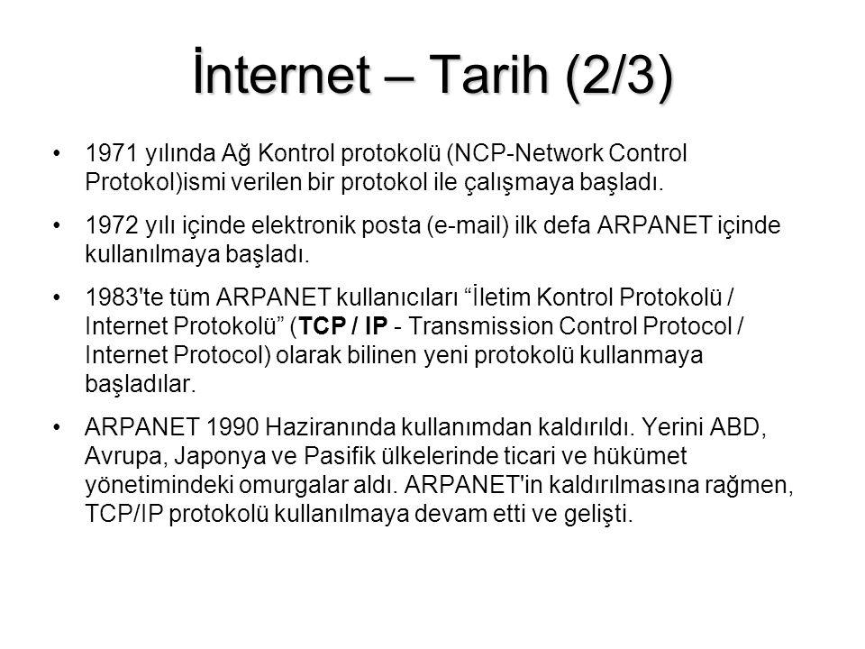 İnternet – Tarih (2/3) 1971 yılında Ağ Kontrol protokolü (NCP-Network Control Protokol)ismi verilen bir protokol ile çalışmaya başladı.