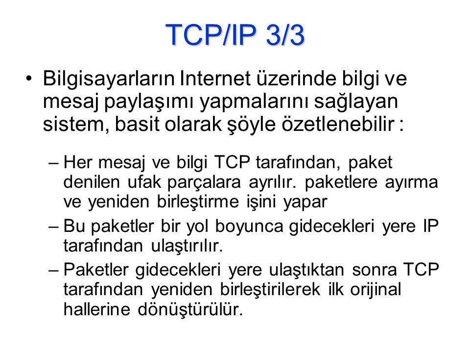 TCP/IP 3/3 Bilgisayarların Internet üzerinde bilgi ve mesaj paylaşımı yapmalarını sağlayan sistem, basit olarak şöyle özetlenebilir :