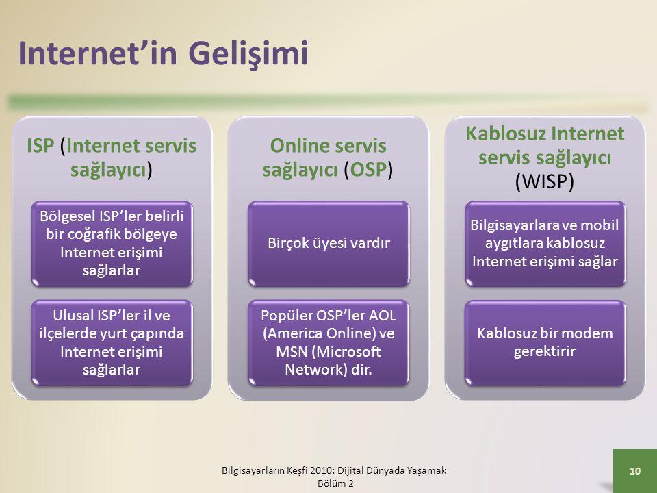 Internet'in Gelişimi ISP (Internet servis sağlayıcı) Bölgesel ISP'ler belirli bir coğrafik bölgeye Internet erişimi sağlarlar.