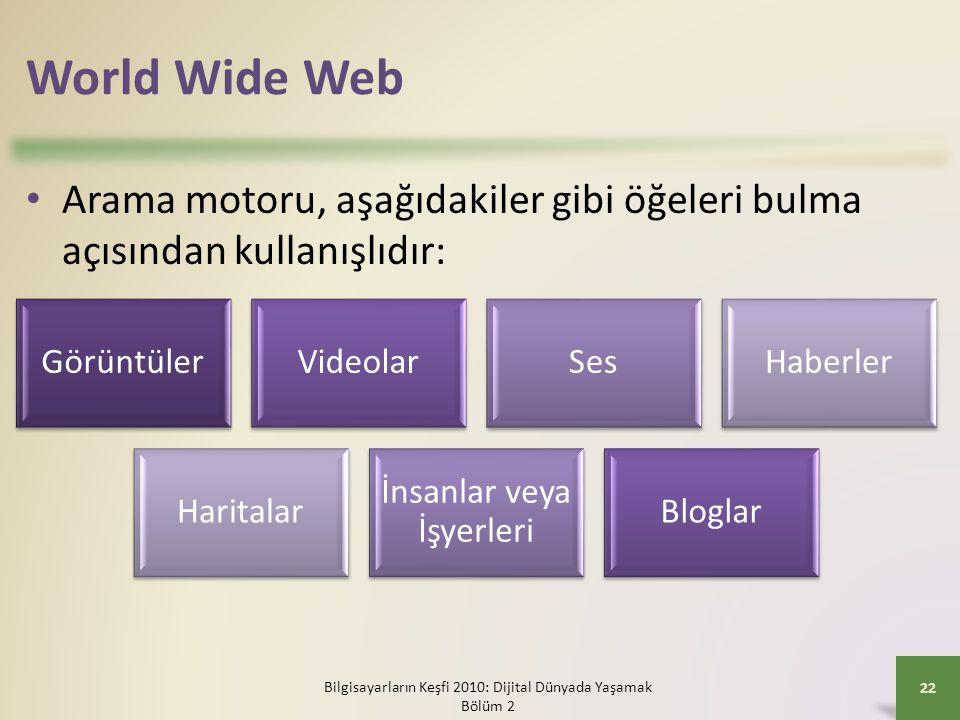 World Wide Web Arama motoru, aşağıdakiler gibi öğeleri bulma açısından kullanışlıdır: Görüntüler. Videolar.