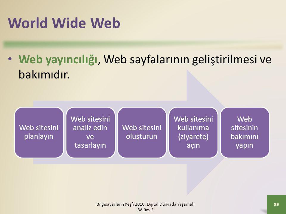 World Wide Web Web yayıncılığı, Web sayfalarının geliştirilmesi ve bakımıdır. Web sitesini planlayın.