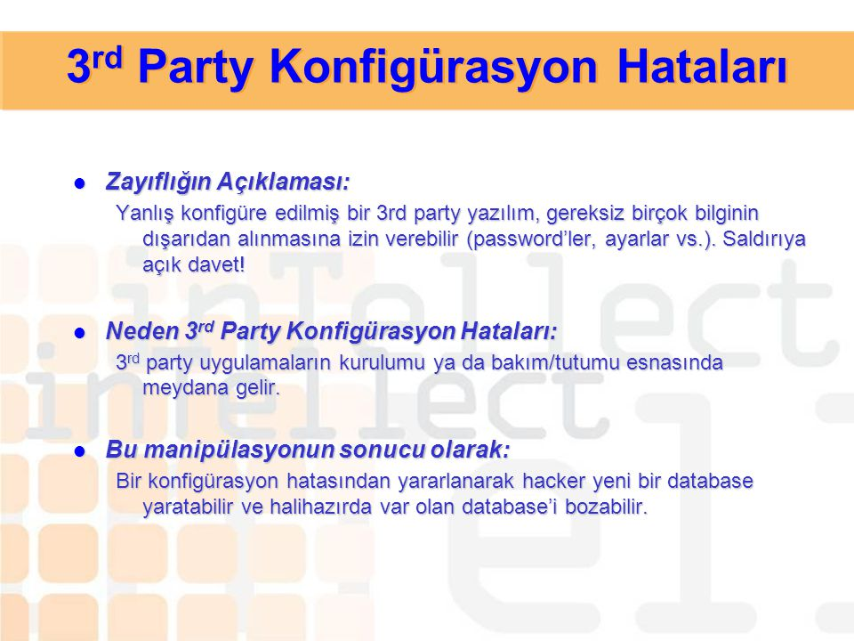 3rd Party Konfigürasyon Hataları