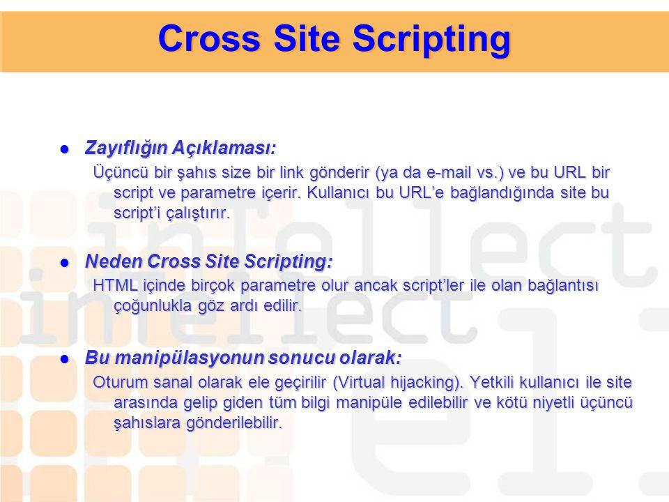 Cross Site Scripting Zayıflığın Açıklaması: