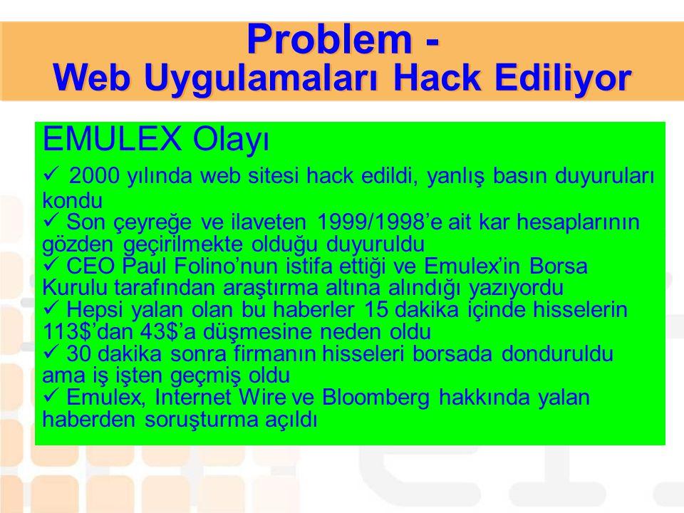 Problem - Web Uygulamaları Hack Ediliyor