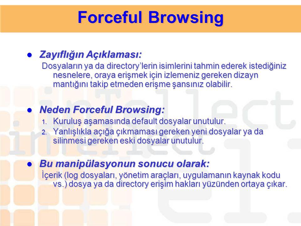 Forceful Browsing Zayıflığın Açıklaması: Neden Forceful Browsing: