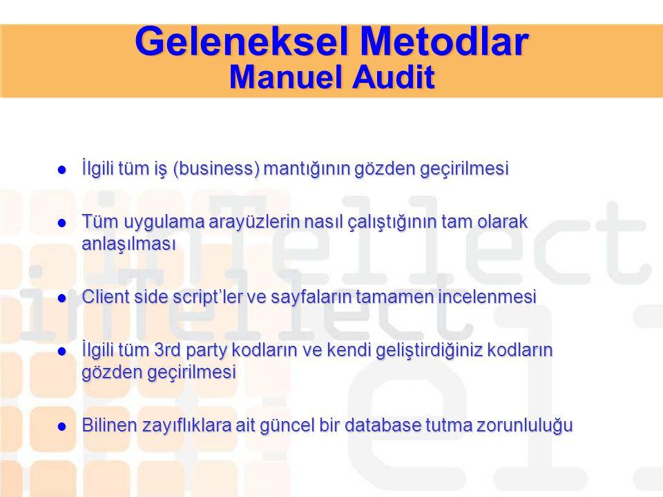 Geleneksel Metodlar Manuel Audit