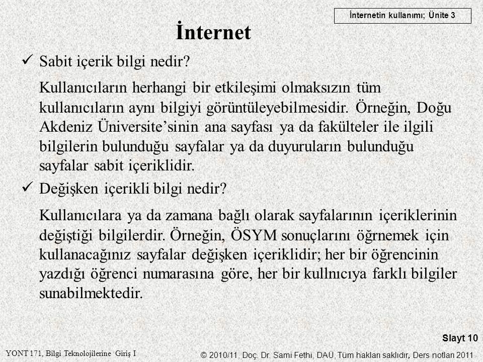 İnternet Sabit içerik bilgi nedir