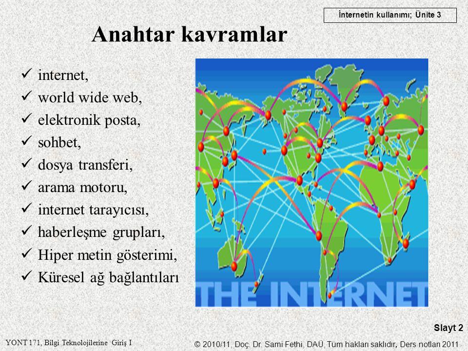 Anahtar kavramlar internet, world wide web, elektronik posta, sohbet,