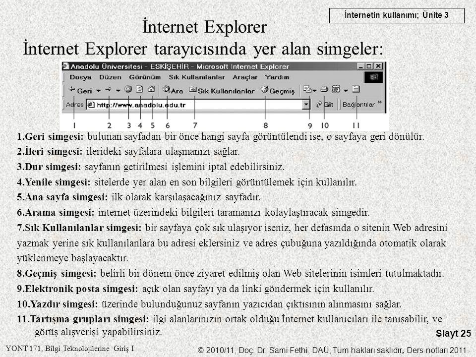 İnternet Explorer tarayıcısında yer alan simgeler: