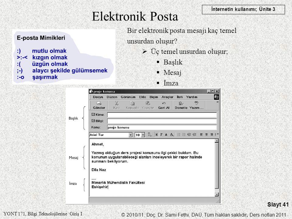 Elektronik Posta Bir elektronik posta mesajı kaç temel