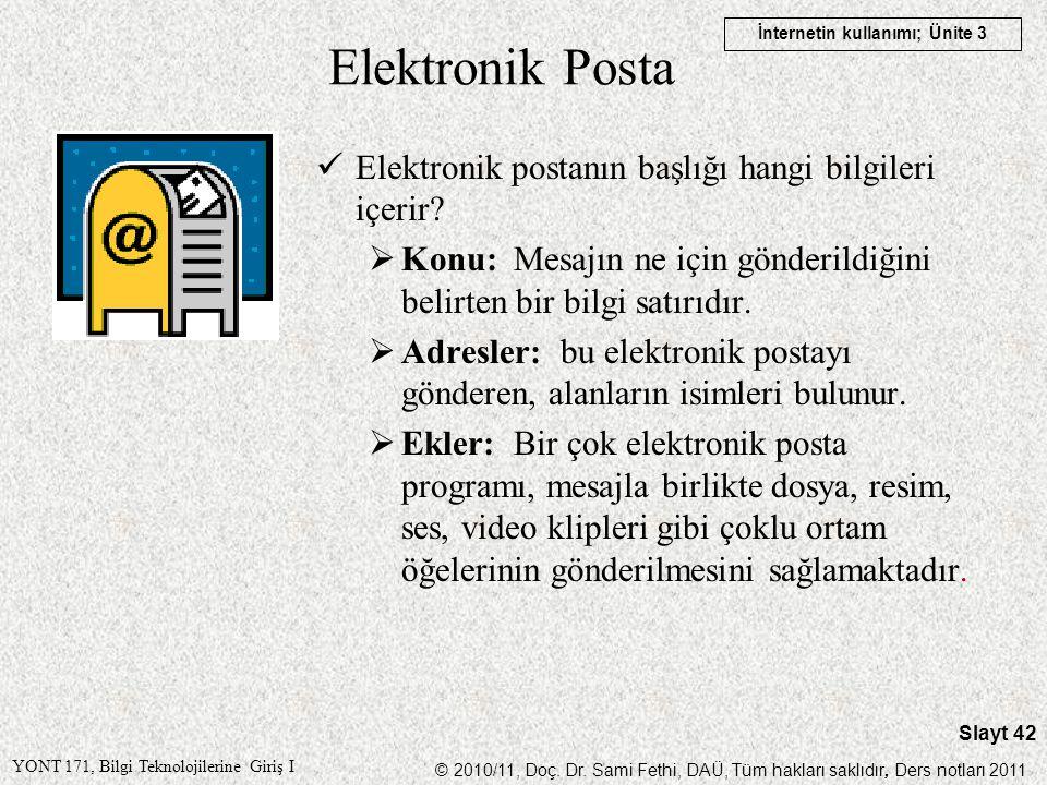 Elektronik Posta Elektronik postanın başlığı hangi bilgileri içerir