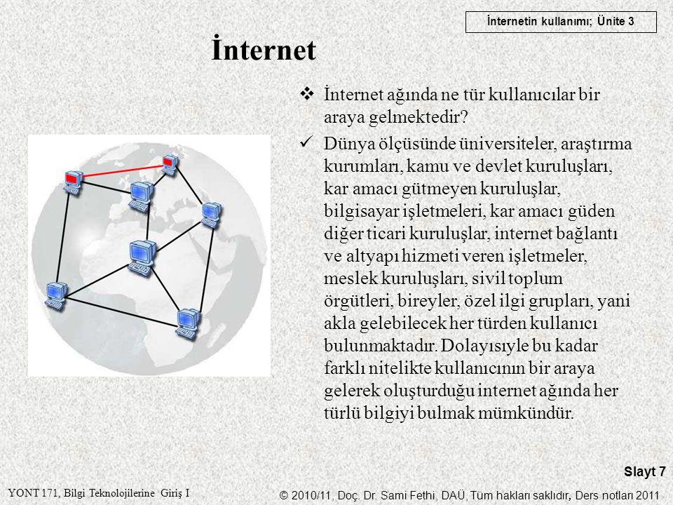 İnternet İnternet ağında ne tür kullanıcılar bir araya gelmektedir