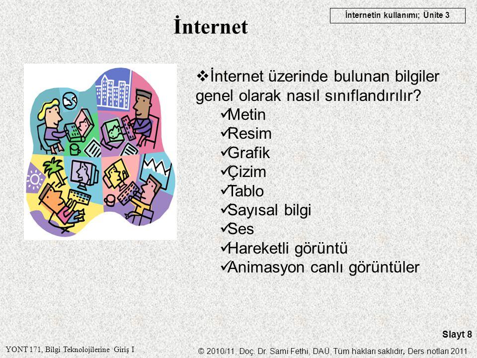 İnternet İnternet üzerinde bulunan bilgiler