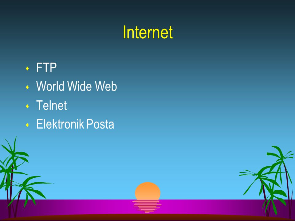 Internet FTP World Wide Web Telnet Elektronik Posta 15 15 16 16 15
