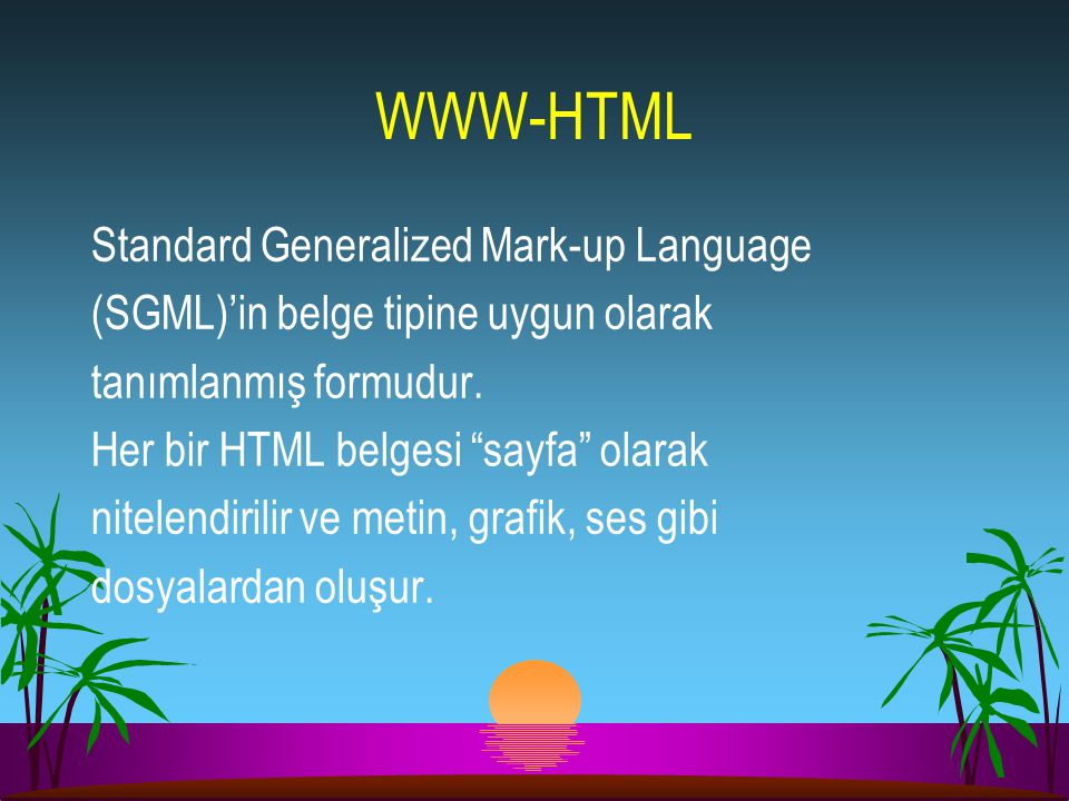 WWW-HTML Standard Generalized Mark-up Language