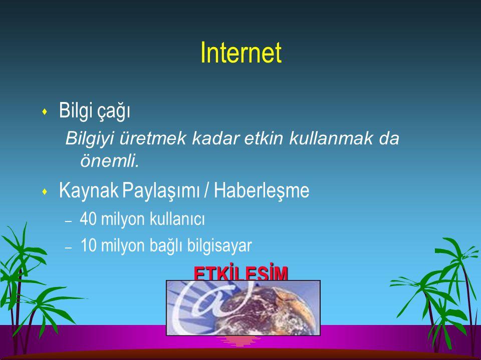 Internet Bilgi çağı Kaynak Paylaşımı / Haberleşme ETKİLEŞİM