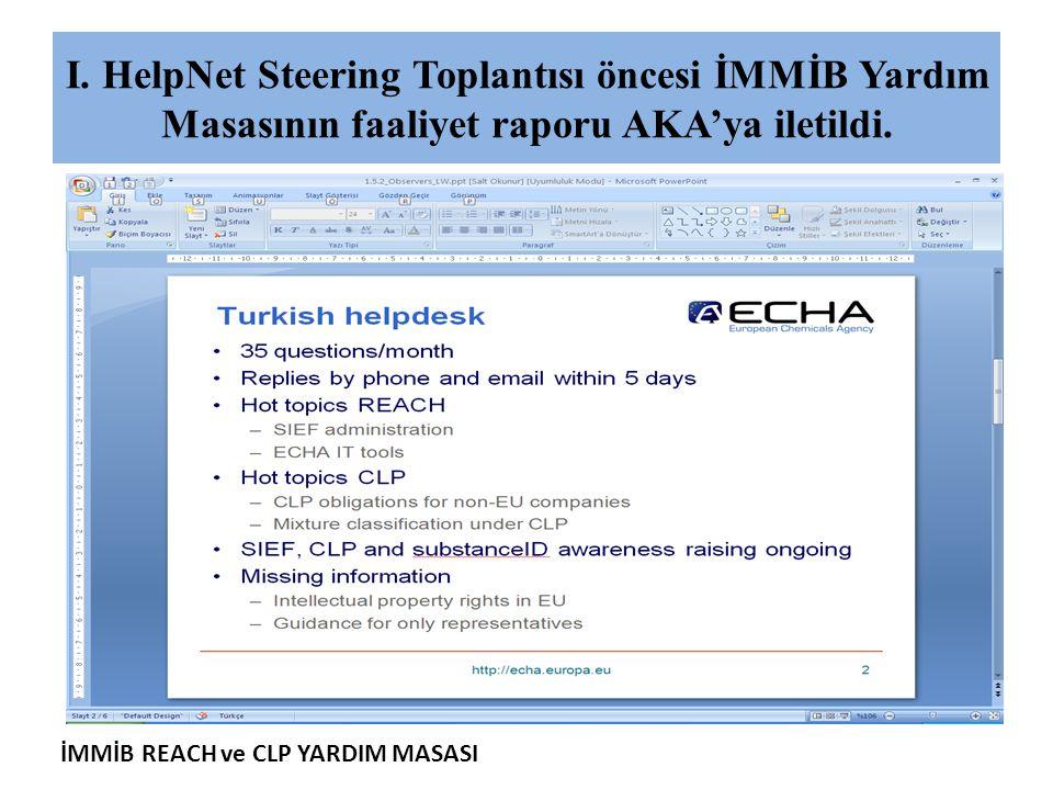 I. HelpNet Steering Toplantısı öncesi İMMİB Yardım Masasının faaliyet raporu AKA'ya iletildi.
