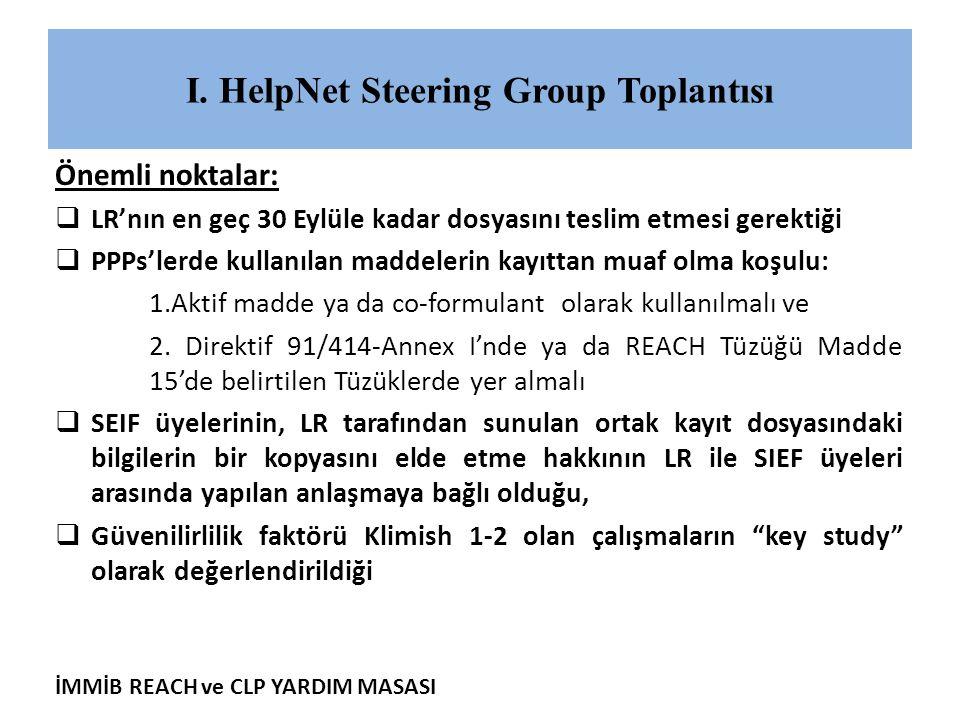 I. HelpNet Steering Group Toplantısı
