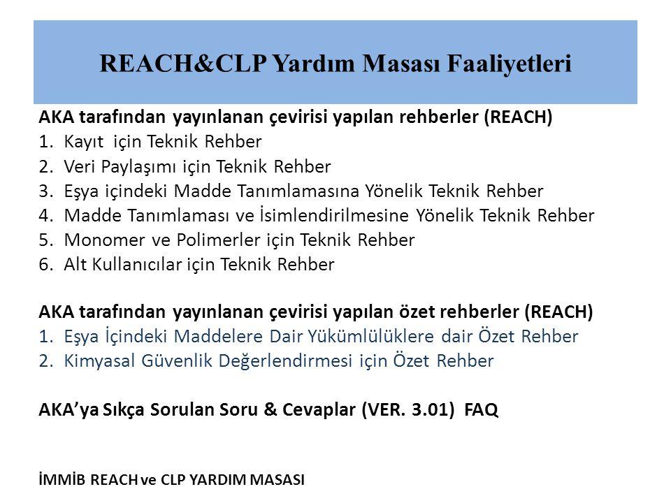 REACH&CLP Yardım Masası Faaliyetleri