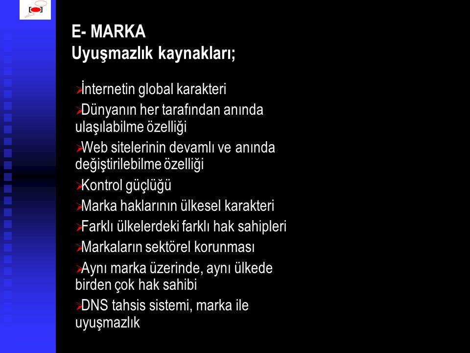 E- MARKA Uyuşmazlık kaynakları;