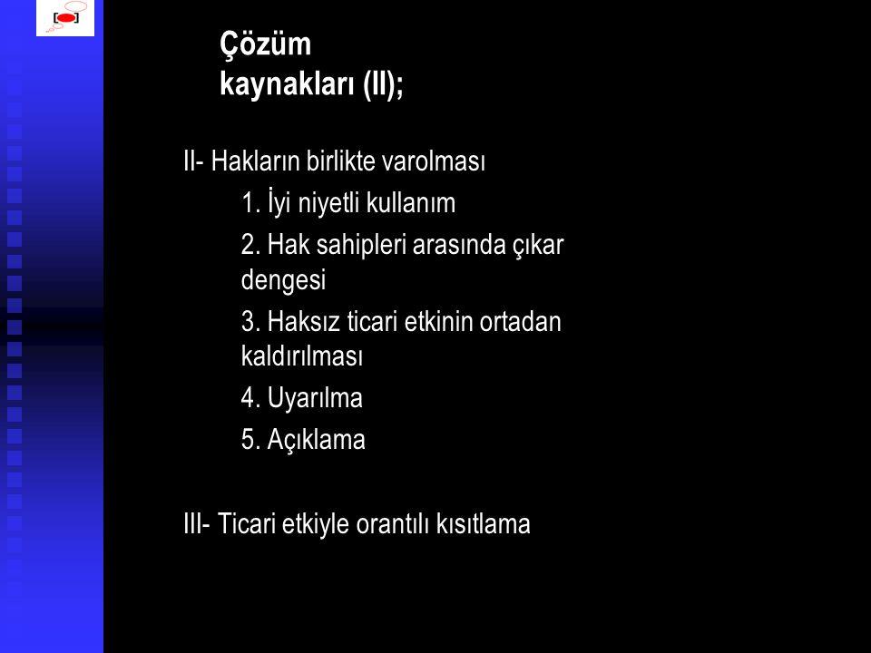 Çözüm kaynakları (II);
