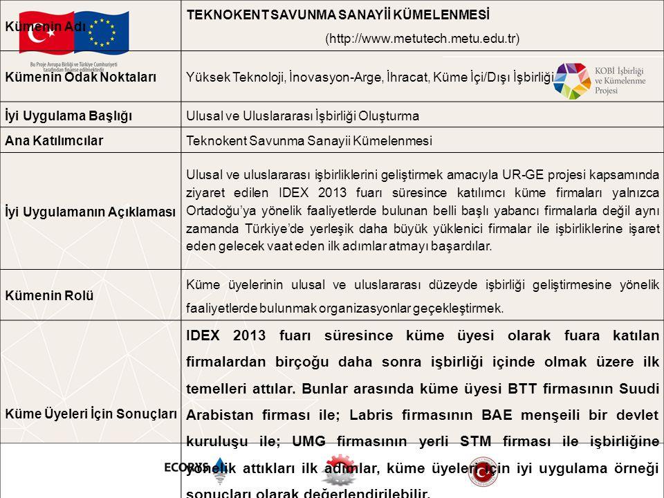 Kümenin Adı TEKNOKENT SAVUNMA SANAYİİ KÜMELENMESİ. (http://www.metutech.metu.edu.tr) Kümenin Odak Noktaları.
