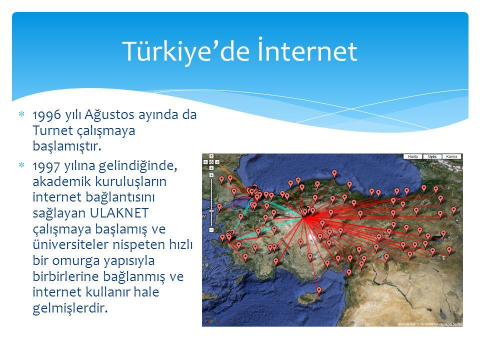Türkiye'de İnternet 1996 yılı Ağustos ayında da Turnet çalışmaya başlamıştır.