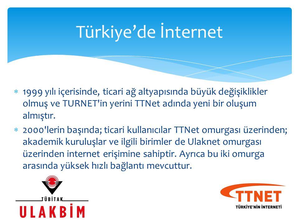 Türkiye'de İnternet 1999 yılı içerisinde, ticari ağ altyapısında büyük değişiklikler olmuş ve TURNET in yerini TTNet adında yeni bir oluşum almıştır.