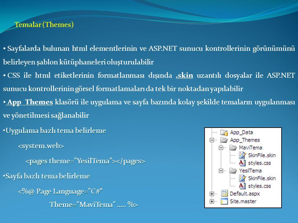 Temalar (Themes) Sayfalarda bulunan html elementlerinin ve ASP.NET sunucu kontrollerinin görünümünü belirleyen şablon kütüphaneleri oluşturulabilir.