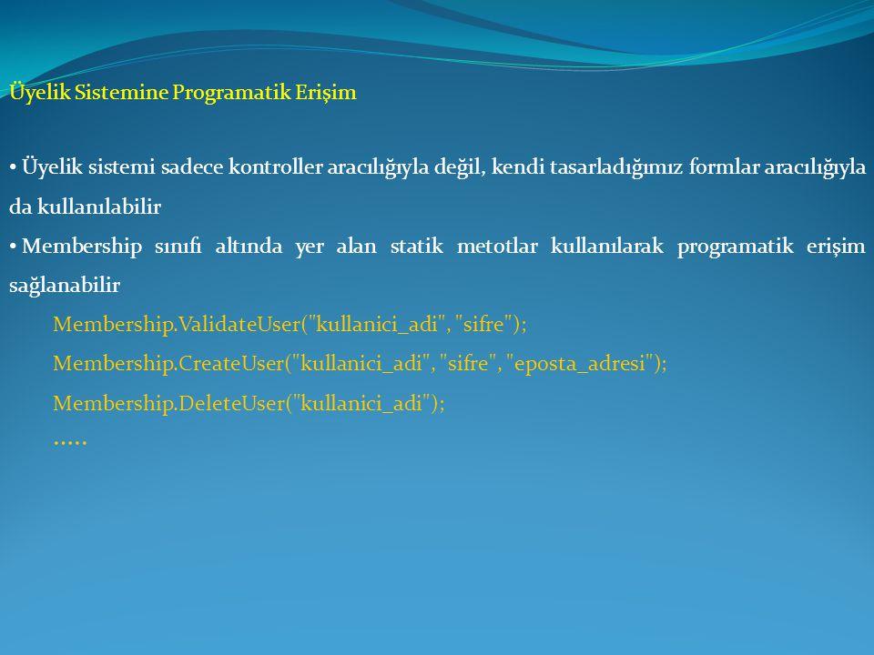 ….. Üyelik Sistemine Programatik Erişim